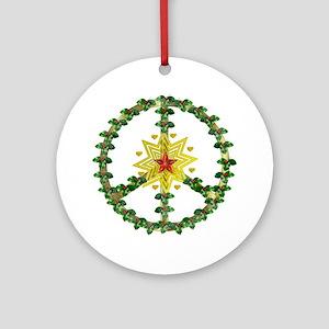 Peace Star Christmas Round Ornament
