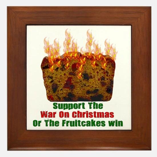 War On Christmas Fruitcake Framed Tile