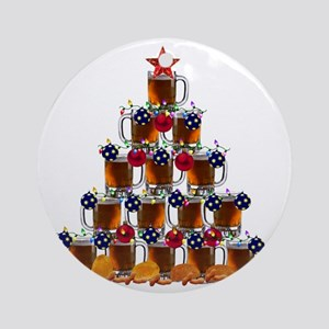 Beer and Burger Holiday Tree Round Ornament