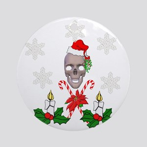 Happy Holidays Christmas Skull Round Ornament