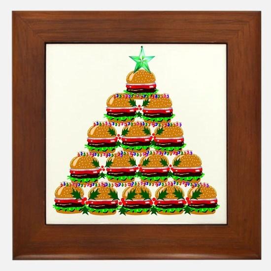 Hamburger Christmas Tree Framed Tile