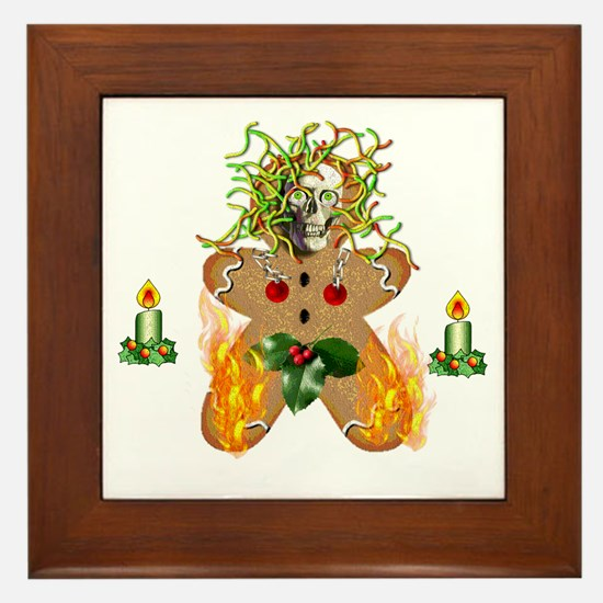 Flaming Wormy Gingerbread Framed Tile
