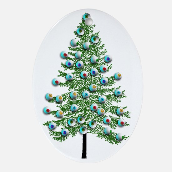 Eyeball Christmas Tree Oval Ornament