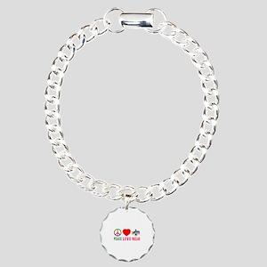 Peace Love Swaziland Charm Bracelet, One Charm