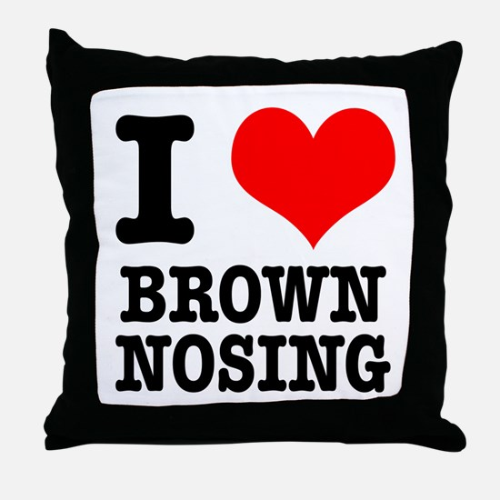 I Heart (Love) Brown Nosing Throw Pillow