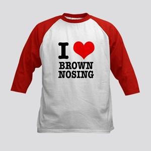 I Heart (Love) Brown Nosing Kids Baseball Jersey