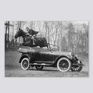 Horse Jumping Over Automo Postcards (Package of 8)