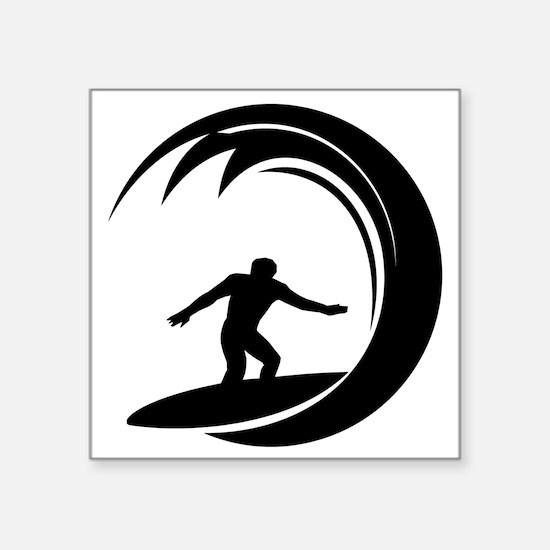 "tribal surfing design Square Sticker 3"" x 3"""