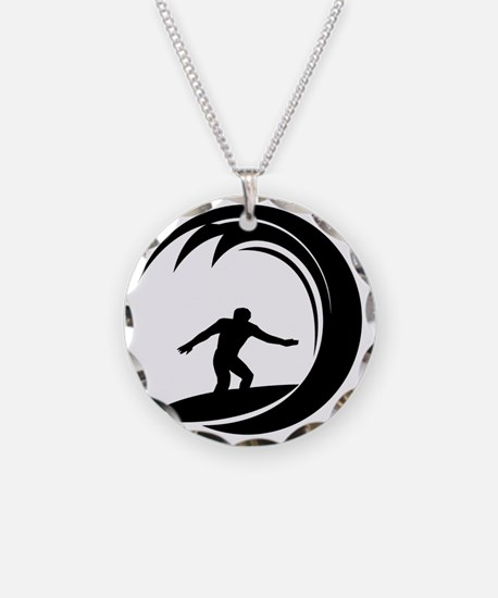 tribal surfing design Necklace Circle Charm