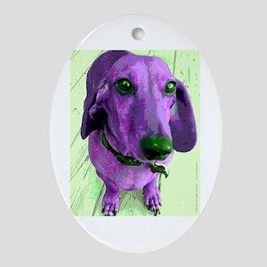 Seeing Purple Dachshund Oval Ornament