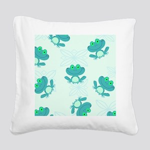 cute blue froggy pattern Square Canvas Pillow
