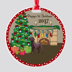 2017 Chocolate Labs 1St Christmas Round Ornament