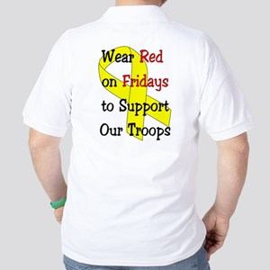 Wear Red Fridays (back) Ribbon (front) Golf Shirt
