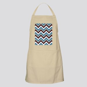 Modern blue  brown gray and white chevrons Apron