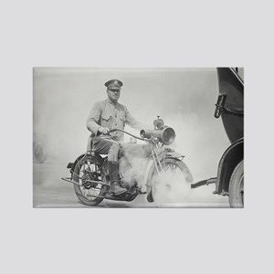 Motorcycle Policeman on Duty Rectangle Magnet