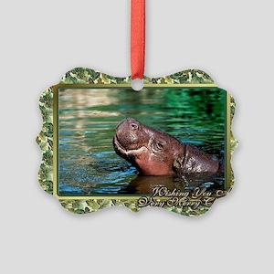 Hippopotamus Christmas Card Picture Ornament