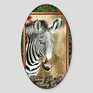 Zebra Christmas Card Sticker (Oval)