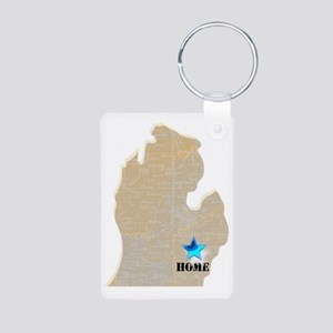 Michigan Is Home Aluminum Photo Keychain