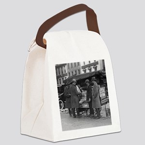 Reading The News Canvas Lunch Bag