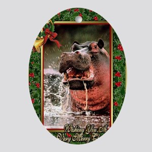 Hippopotamus Christmas Card Oval Ornament