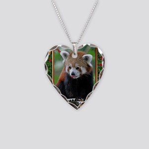 Red Panda Christmas Card Necklace Heart Charm