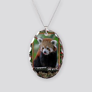 Red Panda Christmas Card Necklace Oval Charm