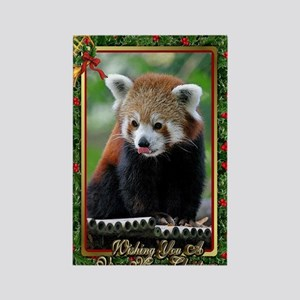 Red Panda Christmas Card Rectangle Magnet