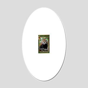 Red Panda Christmas Card 20x12 Oval Wall Decal
