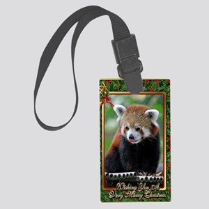 Red Panda Christmas Card Large Luggage Tag