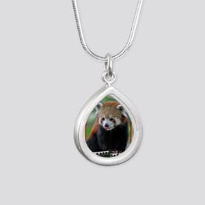 Red Panda Christmas Card Silver Teardrop Necklace