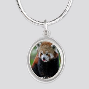 Red Panda Christmas Card Silver Oval Necklace