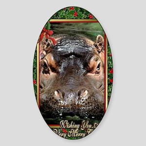 Hippopotamus Christmas Card Sticker (Oval)