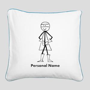 Personalized Super Stickman Square Canvas Pillow