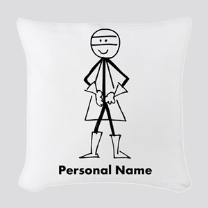 Personalized Super Stickman Woven Throw Pillow