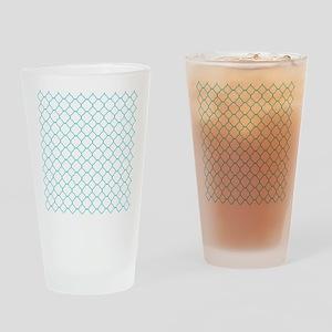 Teal Blue White Quatrefoil Pattern Drinking Glass