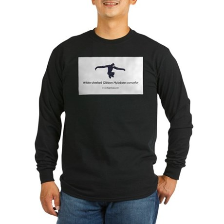 White-cheeked Gibbon Long Sleeve Dark T-Shirt