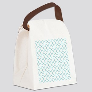 Teal Blue White Quatrefoil Patter Canvas Lunch Bag