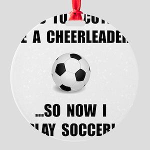 Cheerleader Soccer Round Ornament