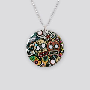 Day of the Dead Necklace Circle Charm
