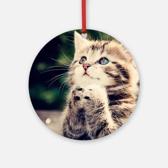 Cat Praying Round Ornament