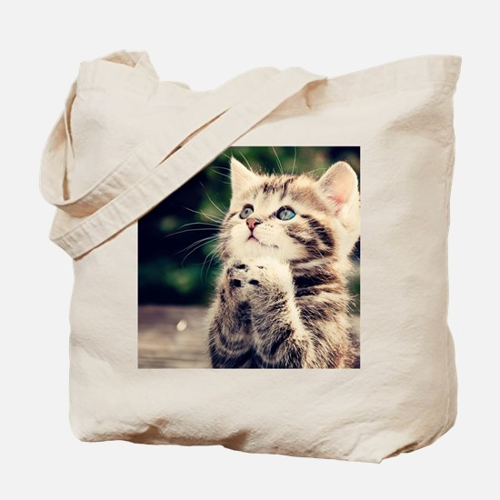 Cat Praying Tote Bag