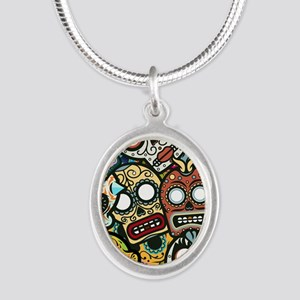 Day of the Dead Silver Oval Necklace