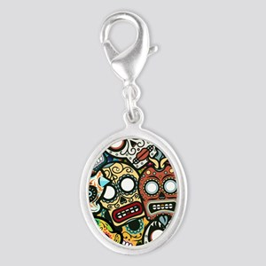 Day of the Dead Silver Oval Charm