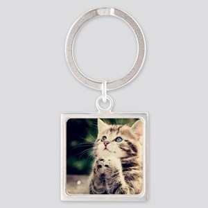 Cat Praying Square Keychain