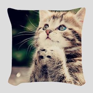 Cat Praying Woven Throw Pillow