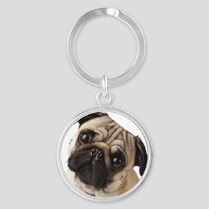 Pug Oil Painting Face Round Keychain