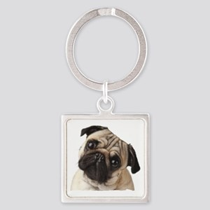 Pug Oil Painting Face Square Keychain
