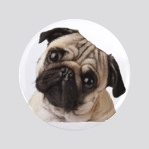 """Pug Oil Painting Face 3.5"""" Button"""