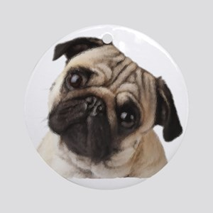 Pug Oil Painting Face Round Ornament
