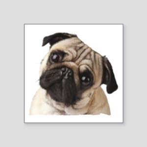 """Pug Oil Painting Face Square Sticker 3"""" x 3"""""""